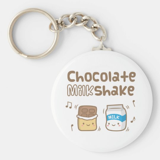 Cute Chocolate Milkshake Doodle For Her Key Ring