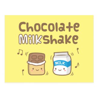 Cute Chocolate Milkshake Doodle For Her Postcard