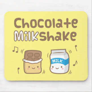 Cute Chocolate Milkshake Doodle For Kids Mouse Pad