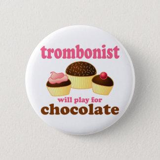 Cute Chocolate Trombone Button