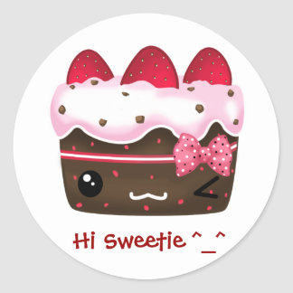 Cute chocolate with strawberries cake round sticker
