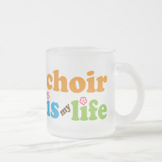 Cute Choir is My Life Retro Flowers Frosted Glass Mug
