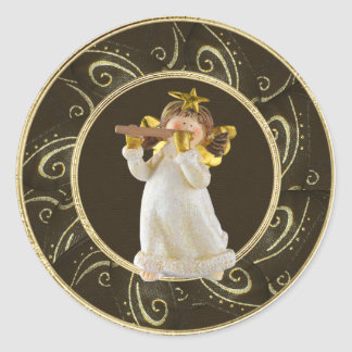 Cute Christmas Angel Playing Flute Stickers