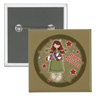 Cute Christmas angel with candy cane 15 Cm Square Badge