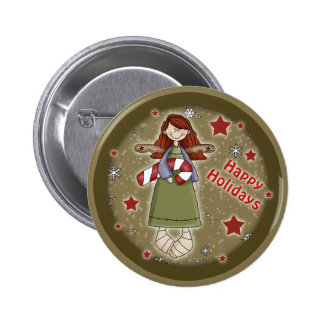 Cute Christmas angel with candy cane 6 Cm Round Badge