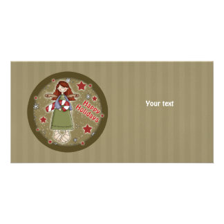 Cute Christmas angel with candy cane Customized Photo Card