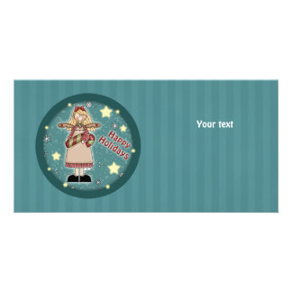 Cute Christmas angel with candy cane Personalised Photo Card