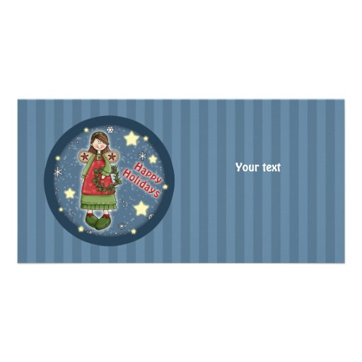 Cute Christmas angel with wreath Personalized Photo Card