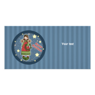 Cute Christmas angel with wreath Photo Card Template