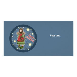 Cute Christmas angel with wreath Photo Greeting Card
