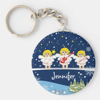 Cute Christmas Angels & custom Name Keychain