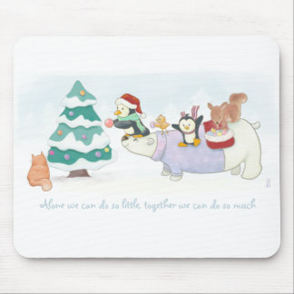 Cute Christmas animals decorating a snowy tree Mouse Pad