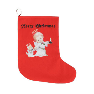 Cute Christmas Baby Angel And Cat On Red Large Christmas Stocking