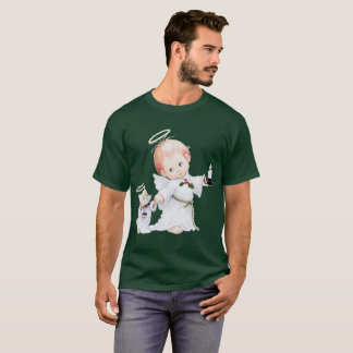 Cute Christmas Baby Angel And Cat T-Shirt