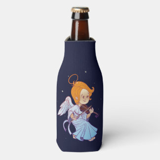Cute Christmas  baby angel playing violin Bottle Cooler