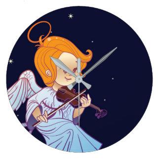 Cute Christmas  baby angel playing violin Large Clock