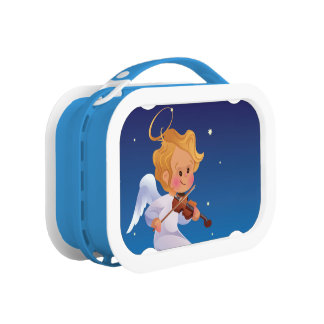 Cute Christmas  baby angel playing violin Lunchboxes