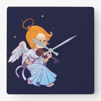 Cute Christmas  baby angel playing violin Square Wall Clock