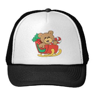 Cute Christmas Bear in Sleigh Mesh Hat