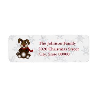 Cute Christmas Bunny RA Return Address Label