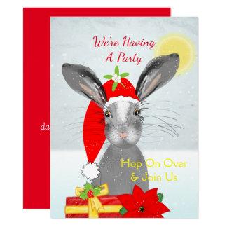 Cute christmas Bunny Rabbit Peronalized 14 Cm X 19 Cm Invitation Card