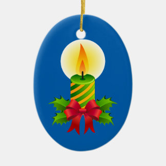 Cute Christmas Candle Ceramic Oval Ornament