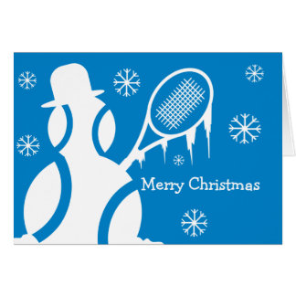 Cute Christmas card for tennis players - snowman