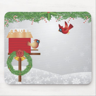 Cute Christmas Cardinals Mousepad