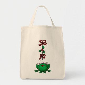 Cute Christmas Cartoon Frog Grocery Tote Bag