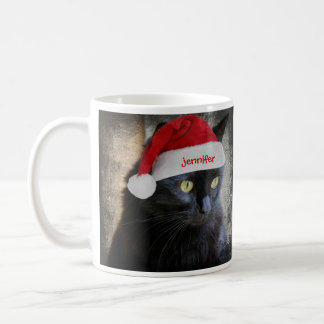 Cute Christmas Cat, Customized w Name on Santa Hat Coffee Mug