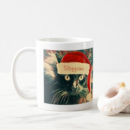 Cute Christmas Cat Mug, Personalised Coffee Mug
