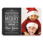 Cute Christmas Chalkboard Photo Template Card Custom Invite