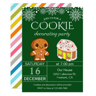 Cute Christmas Cookie Decorating Party Invitation