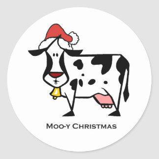 Cute Christmas Cow Classic Round Sticker