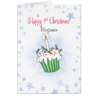 Cute Christmas cupcake for baby's first Christmas Card