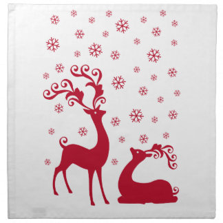 Cute Christmas deers with snowflakes Napkin
