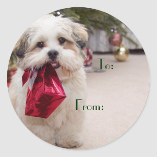 Cute Christmas Dog Gift Tags Round Sticker