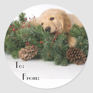 Cute Christmas Dog Gift Tags Stickers