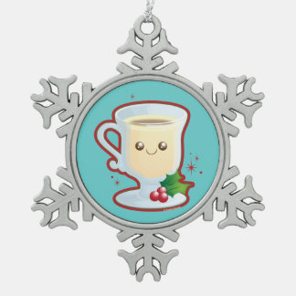 Cute Christmas Eggnog Snowflake Pewter Christmas Ornament