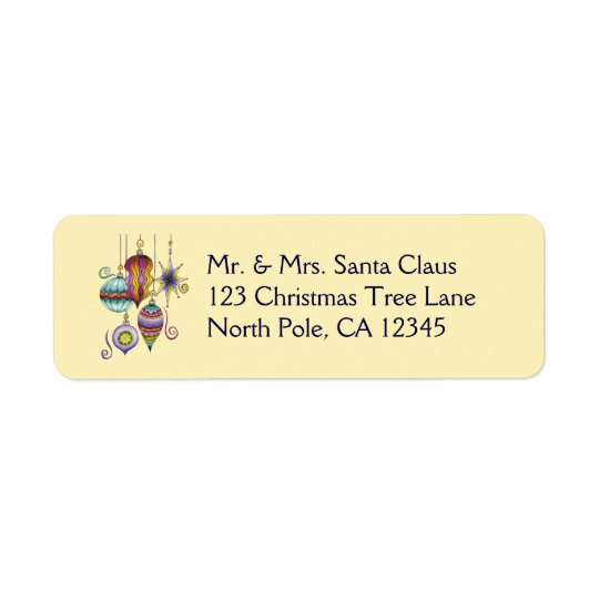 Cute Christmas, Elegant and Fancy Glass Ornaments Return Address Label