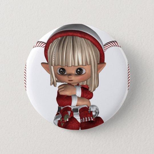 Cute Christmas Elf 6 Cm Round Badge