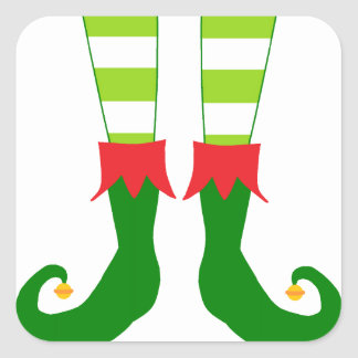 Cute Christmas Elf Feet Square Sticker