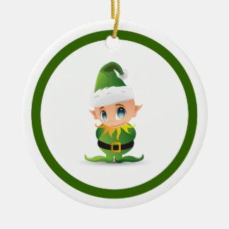 Cute Christmas Elf Personalized Round Ceramic Decoration