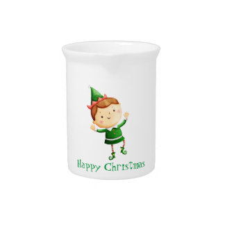 Cute Christmas Elf Pitcher