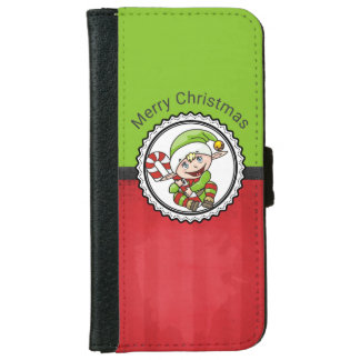 Cute Christmas Elf with Candy Cane Merry Christmas iPhone 6 Wallet Case