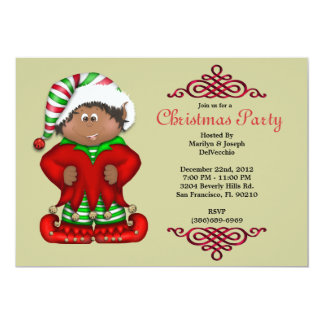 CUTE Christmas elf With Red Border Invite