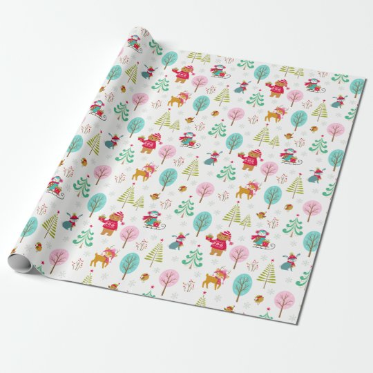 Cute Christmas Forest Animals Wrapping Paper