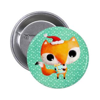 Cute Christmas Fox 6 Cm Round Badge