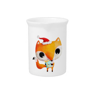 Cute Christmas Fox Pitcher