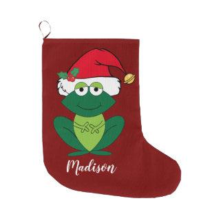 Cute Christmas Frog Large Christmas Stocking